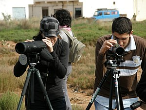 Students watching birds at Nador Lagoon