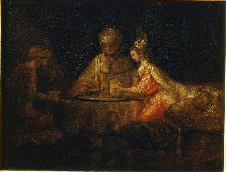 File:Rembrandt Harmensz van Rijn - Ahasuerus, Haman and Esther - Google Art Project.jpg