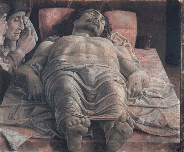 The dead Christ and three mourners by Andrea Mantegna