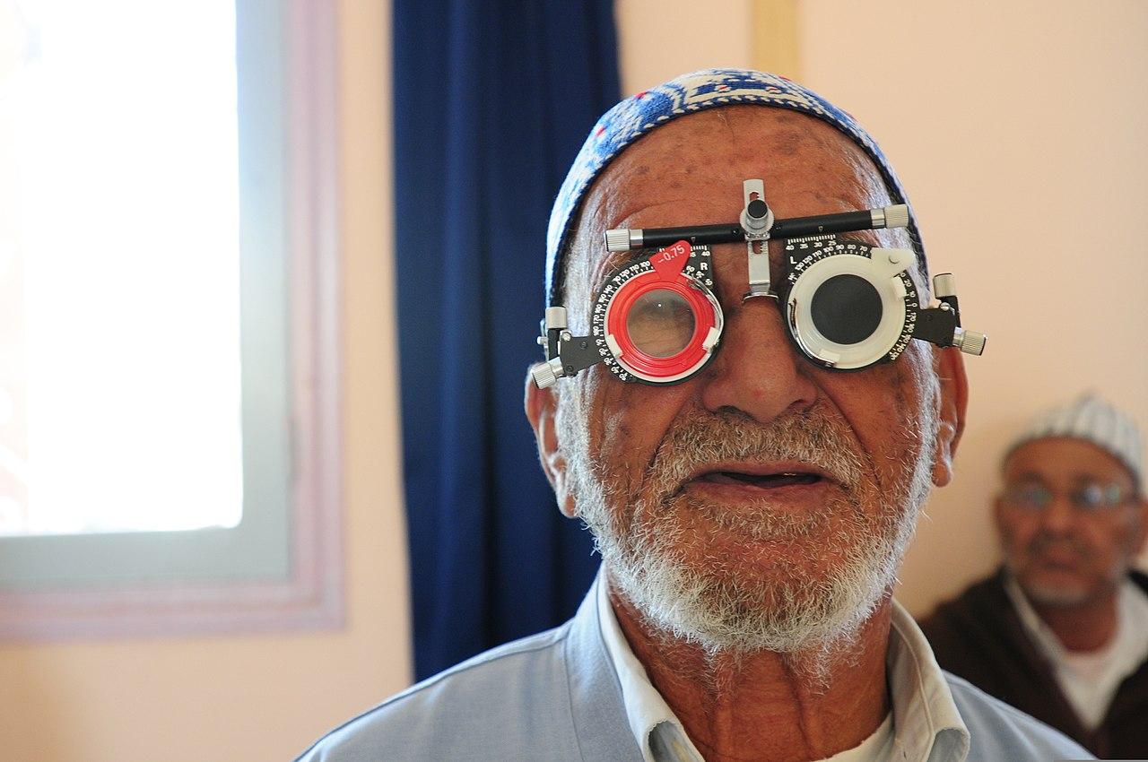 FileA Moroccan man has his eyes checked at a Humanitarian
