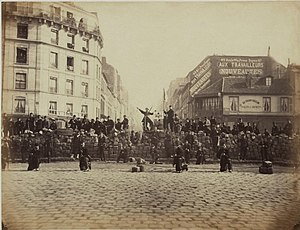 A barricade in the Paris Commune, March 18, 1871.