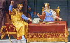 Fresco de «Salomón y la Reina de Saba» en el centro de la Biblioteca de El Escorial