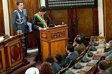 Morales addressing Bolivia's Parliament