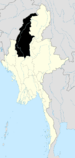 English: Map showing Sagaing Region in Burma