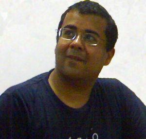 Photograph of Chetan Bhagat, Novelist, while h...