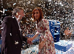 Español: Cristina de Kirchner junto a Néstor K...