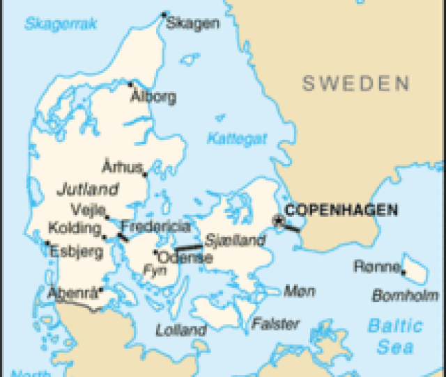 A Labelled Map Of Denmark