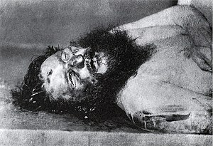 English: Picture of the murdered Rasputin. Čes...