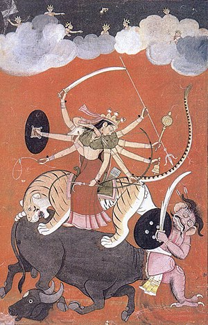 English: Goddess Durga, fighting Mahishasura, ...