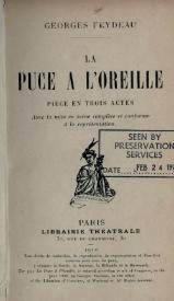 La Puce à L'oreille Feydeau : l'oreille, feydeau, Livre:Feydeau, L'oreille,, 1910.djvu, Wikisource