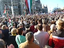 """Hungarians won't live according to the commands of foreign powers"", Orbán told the crowd at Kossuth square, 15 March 2012"