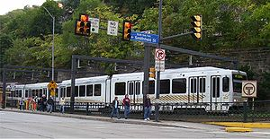 An outbound train on the Pittsburgh light rail...