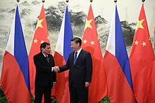 Duterte handshake with Chinese President Xi Jinping prior to the bilateral meetings at the Great Hall of the People in Beijing, October 20, 2016