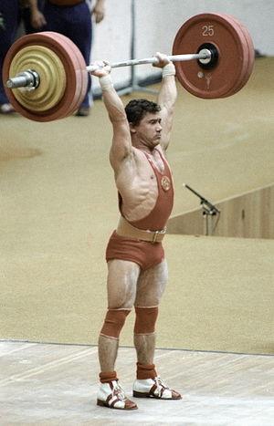 """English: """"Soviet weight-lifter Viktor Mazin du..."""