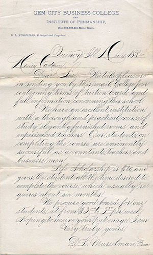 English: Example of Spencerian script.