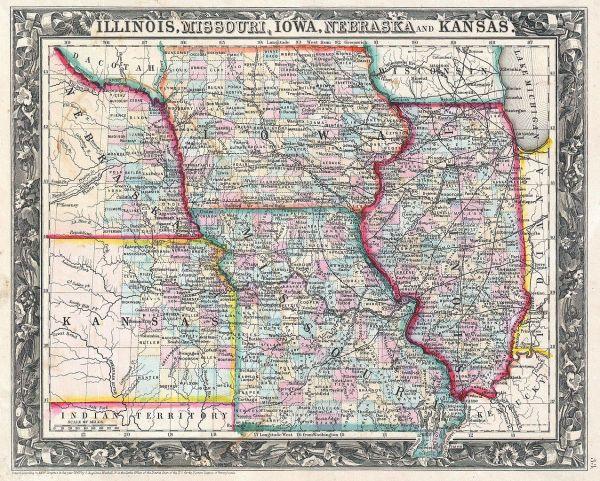 File1860 Mitchell Map of Iowa Missouri Illinois