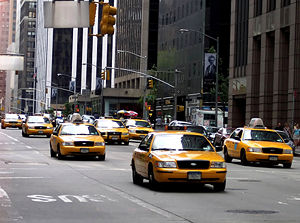 The famous yellow taxicabs of New York City.
