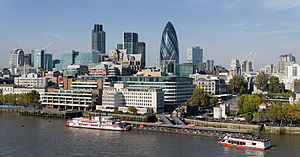 English: The City of London skyline as viewed ...