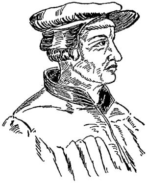 English: Portrait drawing of Swiss reformer Ul...