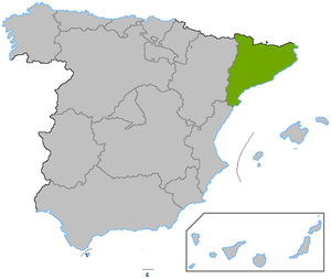 Location of Catalonia, in Spain.