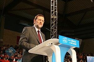 Mariano Rajoy en un mitín en Cataluña