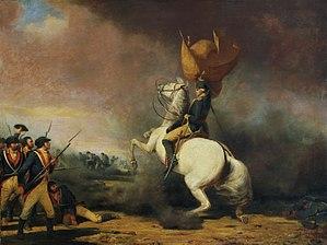 English: General George Washington rallying hi...