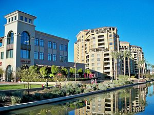 View of the Scottsdale Waterfront on a clear D...