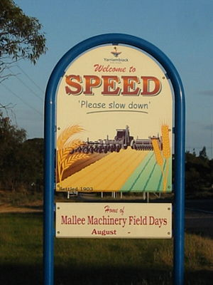 Town Sign of Speed, Victoria, Australia