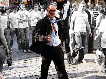 Street artist pretending to be Clark Kent (Sup...