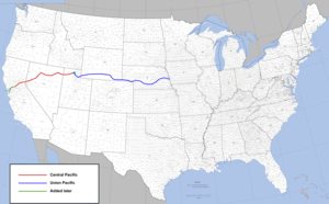 Route of the first American transcontinental r...