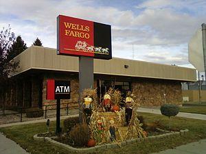 English: Wells Fargo bank in Conrad, Montana w...