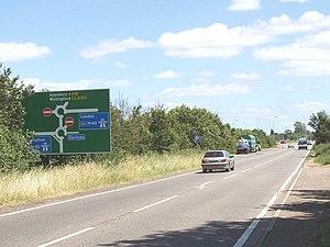 A418 crosses the M40 near Wheatley. The rounda...