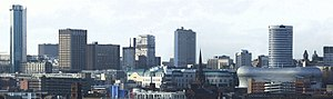 English: Skyline of Birmingham, UK. Buildings ...