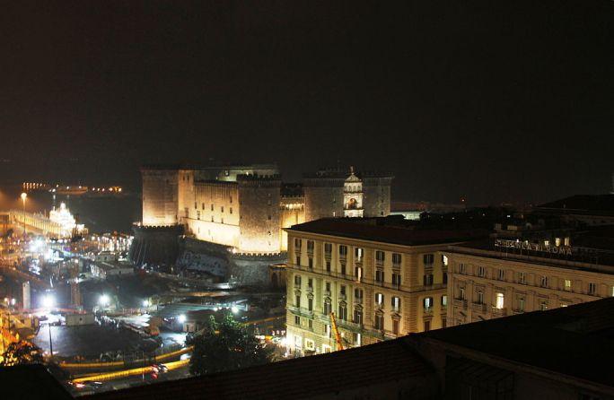 Castel Nuovo seen from Renaissance Mediterraneo at night - Naples - Italy 2015