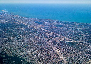 English: south to north view of chicagoland area