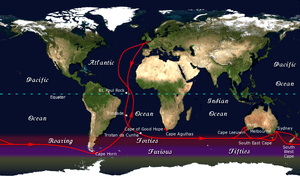 The clipper route followed by ships sailing be...