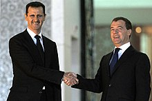 Assad with Russian President Dmitry Medvedev in 2010