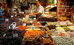 English: Preserved fruits and Turkish Delight ...