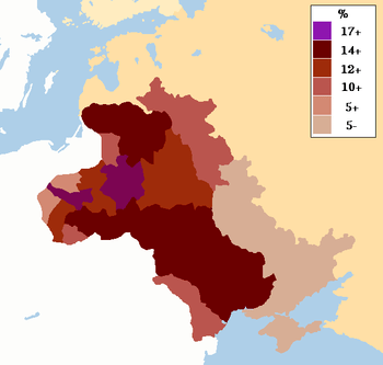 English: Map showing the percentage of Jews in...