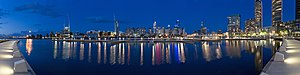 A panorama of the Melbourne skyline from Yarra...