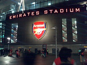 Outside the Emirates Stadium.
