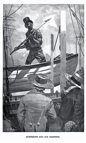 Illustration of Queequeg and his harpoon.