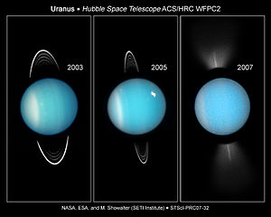 English: Seasonal change on Uranus as the plan...