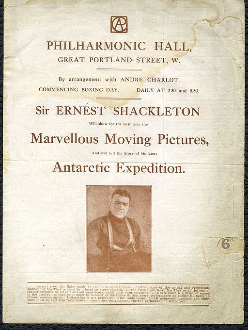 Sir Ernest Shackleton Philharmonic Hall Programme Great Portland Street c1920