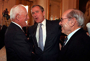 George W. Bush chats with Sparky Anderson, lef...