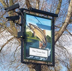 The sign outside the Trout Inn at Wolvercote, ...