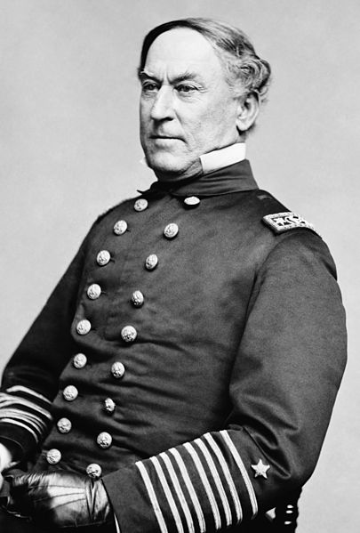 Photograph from circa 1855-1865 of then-Rear Admiral David Glasgow Farragut, the commander of the Union forces at the Battle of Mobile Bay, and the man to who is attributed the famous line,