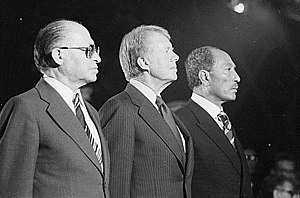 Menachem Begin, Jimmy Carter und Anwar Sadat i...