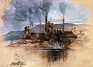 """Bethlehem Steel works, """"Watercolor in sep..."""