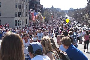 Boston Marathon, mile 25, Beacon St., 2005